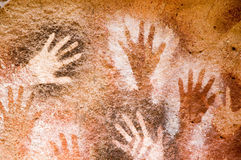 Ancient cave painting in Patagonia royalty free stock images