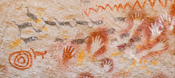 Ancient cave paintings in Argentina. Royalty Free Stock Photography