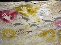 Ancient cave paintings Stock Images