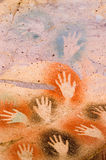 Ancient Cave Paintings in patagonia. Hands detail Stock Image
