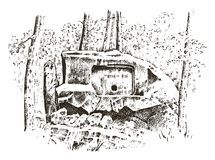 Ancient cave. prehistoric house of wood or stone rock with the remains of a man. forest landscape. habitat of pristine. Civilizations. close up. engraved hand Stock Images