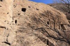 Ancient cave settlement Stock Images