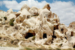 Ancient cave-town near Goreme, Turkey Stock Images