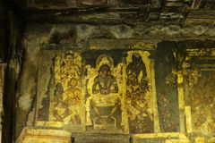 Ancient cave wall painting at Ajanta Caves. A beautiful ancient cave wall painting at Ajanta Caves in Aurangabad, Maharashtra, India Stock Photos