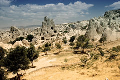 Ancient cavetown near Goreme, Cappadocia, Turkey Royalty Free Stock Photography