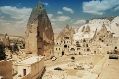 Ancient cavetown near Goreme, Cappadocia, Turkey stock photos