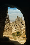 Ancient cavetown near Goreme, Cappadocia, Turkey royalty free stock photo