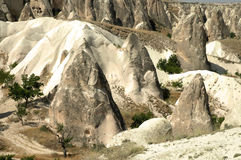 Ancient cavetown near Goreme, Cappadocia, Turkey Royalty Free Stock Photo