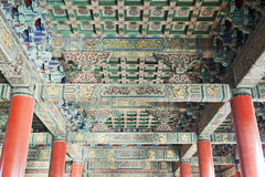 Ancient Ceilings. The ceilings of a walkway in the Forbidden City in Beijing covered with old painting in bright colors with red pillars Royalty Free Stock Photo