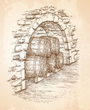 Ancient cellar with wine wooden barrels Royalty Free Stock Image