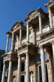 Ancient Celsius library in Efes. Detail of front facade, Ancient Celsius library, Efes, Ephesus, Turkey Royalty Free Stock Photo