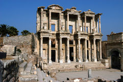 Ancient Celsius library in Efes. Front facade of ancient Celsius library in Efes, Ephesus, Turkey Stock Photos