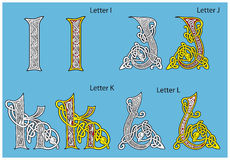 Ancient Celtic alphabet. (4 letters of 26 Stock Images