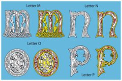 Ancient Celtic alphabet. (4 letters of 26 Royalty Free Stock Images