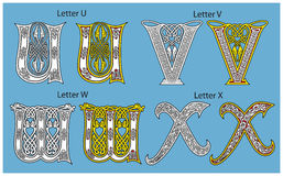 Ancient Celtic alphabet. (4 letters of 26 Stock Photography