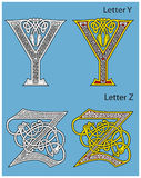 Ancient Celtic alphabet. (2 letters of 26 Royalty Free Stock Photo