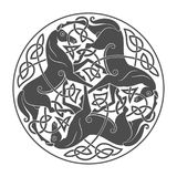 Ancient celtic mythological symbol of horse trinity. Vector knot ornament stock illustration