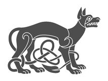 Ancient celtic mythological symbol of wolf, dog. Vector knot  Royalty Free Stock Photos