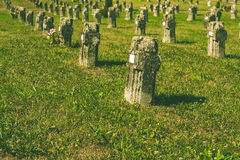An ancient cemetery and grass Stock Photos