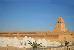 Ancient cemetery and the Great Mosque, Tunisia Royalty Free Stock Photography