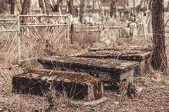 Ancient cemetery tombstones monuments of angels mysticism mystery ghost spirits bring death. Ancient cemetery mysticism mystery ghost spirits bring death Stock Photos