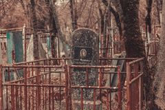 Ancient cemetery tombstones monuments of angels mysticism mystery ghost spirits bring death. Ancient cemetery mysticism mystery ghost spirits bring death Stock Images