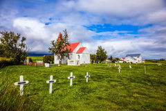 The ancient cemetery near the church Stock Photo