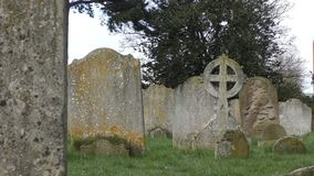 Ancient cemetery. Stone tombstones and crosses. stock video footage