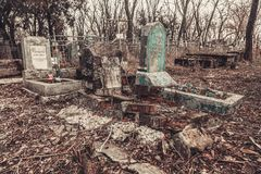 Ancient cemetery tombstones monuments of angels mysticism mystery ghost spirits bring death. Ancient cemetery mysticism mystery ghost spirits bring death Stock Photography