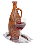 Ancient ceramic bottle with Georgians wine Stock Photography