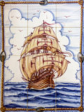 Ancient ceramic tile, museum Azulejo, Lisbon, Portugal. Sailing. Of vessel Santa Maria da Colombo, Madeira Stock Image