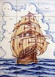 Ancient ceramic tile, museum Azulejo, Lisbon, Portugal. Sailing. Of vessel Santa Maria da Colombo, Madeira Stock Photo