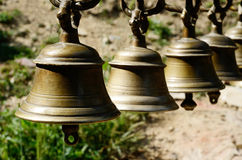 Ancient ceremonial bells in hindu temple,Kathmandu,Nepal,Asia stock photo