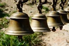 Ancient ceremonial bells in hindu temple,Kathmandu,Nepal,Asia Stock Photo