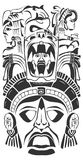 Ancient ceremony mask - Mayan - Aztec - vector Stock Images