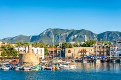 Ancient chain tower in Kyrenia Harbour. Cyprus Royalty Free Stock Image