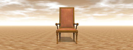 Ancient chair alone - 3D render Stock Photo