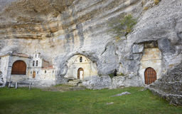 Ancient chapel in a cave. Ojos de Guarena. Burgos. Spain Royalty Free Stock Photos