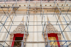 Ancient chapel was renovated with scaffolding Stock Photography