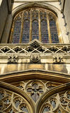Ancient chapel window. Ancient cambridge college chapel window Stock Photo