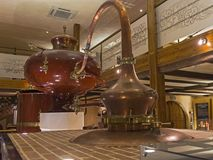 Ancient Charente alembic in the cognac museum. Moscow, Russia. Stock Photos