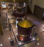 Ancient Charente alembic in the cognac museum. Moscow, Russia. Stock Photo