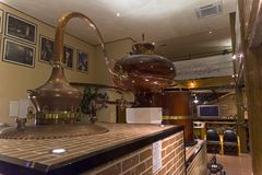 Ancient Charente alembic in the cognac museum. Moscow, Russia. Stock Photography