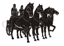 Ancient Chariot With Four Horse Paint. Classic Ancient Chariot With Four Horse Vector Look Like Paint royalty free illustration