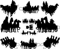 Ancient Chariot With Four Horse Vector. Classic Ancient Chariot With Four Horses Stock Images