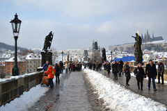 Ancient Charles Bridge in the city of Prague Royalty Free Stock Photo