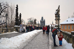 Ancient Charles Bridge in the city of Prague Royalty Free Stock Image