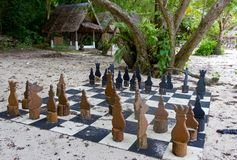 Ancient chess on the beach Royalty Free Stock Images