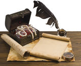 Ancient chest with a paper. Antique chest and paper with a compass on a wooden background Stock Image