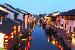 Ancient China at night. Ancient village in Shantang,Jiangsu,China stock images